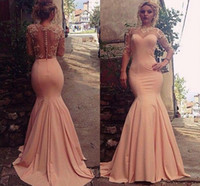 Wholesale Peach Mermaid Prom Dresses - Peach Pink Mermaid Evening Dresses 2016 Lace Sheer Neck Illusion Long Sleeves Prom Dresses Back Covered Buttons Sweep Train Formal Dresses