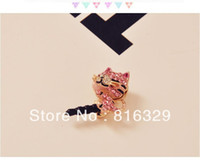 Wholesale Cat Tails Plug - Wholesale-Free shipping   wholesale 20 pieces lot diamond cat tail plug cell phone dust plug charm
