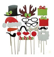 Wholesale Cartoon Funny Glasses - Funny DIY Photo Booth Props Mustache Glasses Snowflake Gift On A Stick Wedding Birthday Christmas Xmas Party Family