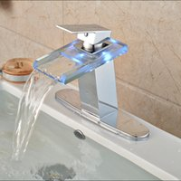 Wholesale Color Basin Faucet - Hot Sale Polished Chrome Basin Vessel Faucet for Bathroom 3 Color Changing with Hole Cover