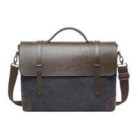 Wholesale High End Packaging - Wecly canvas men business computer package Fashion single shoulder casual bag black brown High-end computer bag