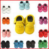 bebe leder großhandel-2016 echtes Leder Baby Mokassins Erste Wanderer Babyschuhe Neugeborenes Baby Mädchen Jungen Schuhe Tenis Infantil Bebe Sapatos Infantis Meninas Melee
