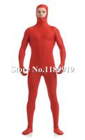 Wholesale Unisex Silver Bodysuit - Wholesale-NEW Unicolor Spandex Open Face Full Bodysuit red Lycra Unisex Zentai Suits S-XXL