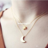 Wholesale Layered Chain Wholesale - Fashion Necklaces for Women 1016 Two Layered Chain Gold Silver Moon Star Pendent Women Statement Simple Moon Necklace