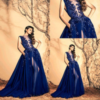 ingrosso vestito puro di ziad nakad-Stunning Royal Blue Ziad Nakad Abiti da sera 2018 Sheer Neck Chiffon Sweep Train Paillettes Fiore Backless Abiti da sera Abiti formali