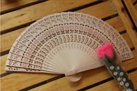 Wholesale Cheap Folding Fans - 2015 New Wooden Hand Fans Portable Lady Wedding Handmade Folding Fans Cheap Wholesale 50pcs Lot DHL Free Ship