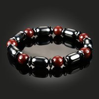 Wholesale Bracelet Power - Black Red Bead String Magnetic Hematite Bracelet for Men Women Power Healthy Bracelets Wristband Fashion Jewelry Gift Drop Shipping