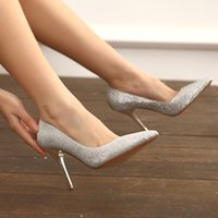 Wholesale Sexy Silver Prom Heels - 2015 Sexy Silver Gold Wedding Shoes Prom Evening Shoes 7.5 cm or 9.5 cm High Heel Bridal Shoes For party Wedding