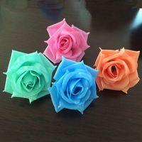 Wholesale Fake Rose Balls - 100pcs Lot 8cm Artificial Flower Heads Champagne Diy Silk Rose Head For Kissing Ball Fake Rose Flower For Wedding Decoration
