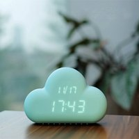 Wholesale Digital Led Wall - Ultra Silience Cloud Shape Original Voice Activated Control LED Digital Alarm Clock With Snooze Calendar Saving Power Function For Wall Desk