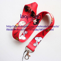 Wholesale Snoopy Cell Phone - NEW wholesale 20 pcs Cartoon red Snoopy Neck Lanyard for MP3 4 cell phone key chain Free shipping
