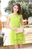 Wholesale Cheap Neon Dress - Wholesale-Clearance College Girls Cue Dree Jupe Neon Green Lace Floral Dress vestidos casual Dresses women renda summer cheap clothes Robe