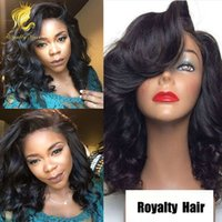 Wholesale Short Curly Lace Front - Glueless Full Lace Wigs Unprocessed Peruvian Full Lace Human Hair Wigs For Black Women wavy Short Wig with bleached knots