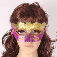 Wholesale Wholesale Sexy Hip Hop Dresses - Party Venetian masquerade Eye Mask gold Sexy Hip Hop Dance costume carnival cosplay fancy dress christmas costume wedding gift 3000p B124