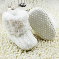 häkeln schneeschuhe großhandel-Wholesale-Warm Prewalker Stiefel Kleinkind Mädchen Boy Crochet Knit Fleece Boot Wolle Schnee Krippe Schuhe Winter Booties