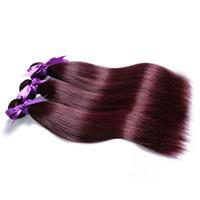 düz kırmızı saç uzantıları toptan satış-Bordo 99j Brezilyalı Saç Düz Demetleri Kırmızı Saç Uzantıları Örgü İnsan Saç 12-26 inç Kalın Atkı 3 veya 4 Demetleri