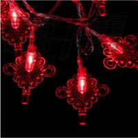 Wholesale Red Chinese String Lights - Wholesale-10 Red Chinese Knots LED String Light 1.2m Long Party Xmas Hotel Decoration L218