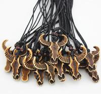 Wholesale Pendant Bone Carved - Wholesale 12pcs lot Imitation Yak Bone Carved Cool Cow Bull Head Totem Pendant Necklace Amulet Gift MN503
