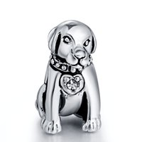 Wholesale Dogs Metal Chains - Gorgeous Loyal Dog With Crystal Pendant European Charms Fit for 925 Sterling Silver Snake Chain Bracelet Fashion DIY Jewelry