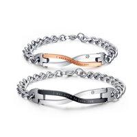 design paar armbänder großhandel-2014 marke design armbänder für paare edelstahl liebe schmuck großhandel