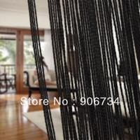 Wholesale Sheer Curtains Tassels - Tassel Fringe Hanging String Partition Divider Wall Door Curtain Black Color