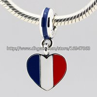 Wholesale Lampwork Glass Beads Necklace Fit - S925 Sterling Silver France Heart Flag Dangle Charm Bead with Enamel Fits European Pandora Jewelry Bracelets Necklaces & Pendant