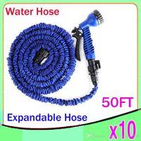 Wholesale Hose Ft - 50 FT Blue color Expandable Garden Hose and spray nozzle Flexible Water Hose 10pcs ZY-SG-03