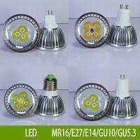 bombillas led led 4w al por mayor-Lámpara de bombilla 3W4W5W Dimmable LED GU10 / GU5.3 / MR16 / E27 / E14LED Focos CREE LED Lights Bombilla de ahorro de energía 3x3W Bombilla LED