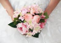 Wholesale Cheap Artificial Peony Wedding - Hot Sale Cheap Rose Wedding Bouquet Handmade Flowers Top Quality Artificial Peony Beaded Brooch Bride Holding Flowers Bridal Bouquets