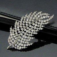 Wholesale Clear Rhinestone Crystal Vintage Diamante - 2.75 Inch Vintage Rhodium Silver Plated Clear Rhinestone Crystal Diamante Large Leaf Brooch Bouquet Pins