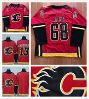 Ice Hockey Men Full 2017 2018 New Style Calgary Flames Ice Hockey 68 Jaromir Jagr Jersey Red Team Blank 13 Johnny Gaudreau Jersey 100% Stitched Embroidery Logos