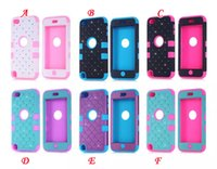 Wholesale 3 in Diamond Crystal Rhinestone Hybrid plastic shakeproof dual color hard silicone gel Case For Ipod touch G G th skin Armor cover
