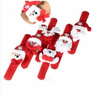 slap rings 2018 - Snowman Bear Elk Santa Claus Sequins led Luminous Slap Bracelet Bangle Christmas Decoration Pat Circle Hand Rings Christmas Gift