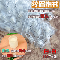 Wholesale Ring Ink Cups - New 100PCS Plastic Tattoo Ink Cups Makeup Rings For Eyebrow Tattoo Tattoo Makeup Permanent Tattoo   Makeup Accessories