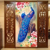 Wholesale Peacock Wallpaper Sticker - Peacock and Peony flower Photo Wallpaper oil painting effect Wall Mural WALL STICKERS Silk Non-woven Canvas ROOM DECOR Home Background Wall