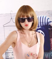 Wholesale Short Blonde Party Wig - Gorgeous Short BOBO Style Blonde Hair Wig Charming Cute Short Straight Students Dance Party Periwig with Flat Bangs Female None Lace Wig