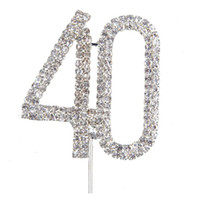 Wholesale Numbers Decorations Cake - Wholesale- AYHF-Custom wedding cake topper, Personalized anniversary Wedding Cake Topper, Acrylic silver glitter Party Decoration Number 40