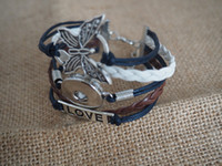 Wholesale Rhinestone Bead Infinity Bracelet - love butterfly infinity snap button leather Bracelets fit for 18mm button 10pcs lot handmade Fit Snaps Buttons 18mm giger snap jewelry