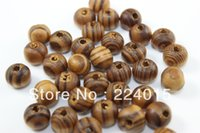 Wholesale Coffee Round Wood Spacer Beads - Free Shipping 1000 8mm Coffee Stripe Round Wood Spacer Beads Child String Bead For Necklace  Bracelet Accessry