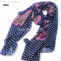Atacado-2015 mulheres Fashion Pasiley Dot Scarf Polka Dot algodão Voile xales Wraps Hijabs 7Colors 10pcs / lot FREE SHIPPING
