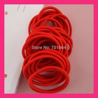 50pcs 4mm Hot Red Elastic Ponytail Holders Children Hair Bands With Gluing  Connection  fdd593f64ba4