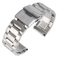 металлические наручные часы 24мм оптовых-Wholesale- High Quality Silver Bracelet Solid Stainless Steel Watch Band 18mm 20mm 22mm 24mm Adjustable Strap Metal Watchband Mens Womens