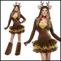 Wholesale Cute Mascot Costumes - Mascot clothing nightclub ds service Christmas party clothes cute elk fitted queen princess skirt costume cap performance dress Halloween