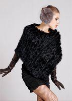 Wholesale White Rabbit Fur Capes - New Hot Fashion Autumn Winter European Lady Rabbit Fur Cape Clock Shawl Women Rabbit Fur Poncho Fur Coat