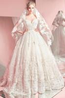 Wholesale zuhair murad floral dress for sale - Group buy 2016 New Spring Zuhair Murad Wedding Dresses Sweetheart Tulle Floor Length Appliqued Lace Ball Gown Wedding Dresses Corset Back BO9709
