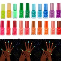Wholesale Glow Glitter Nail Polish - Wholesale- Hot Salling Glitter Nail Polish Fluorescent Neon Luminous Gel Nail Polish For Glow Liquid Nail Varnish 20 Colors
