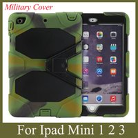 Wholesale Ipad Case Built - apple tablet PC cover for iPad Mini mini 2 military case waterproof dustproof with stand built in screen protector colorful PCC003