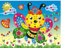 Wholesale Poster Making - Shinning 3D Mosaic Sticker For Lovely Girls Boys Children Hand Made Poster Kids Educational Stationery Toys EVA Creative DIY Mosaic Puzzle