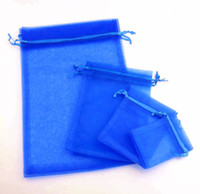 ingrosso sacchetti di regalo blu organza-100 pezzi 4 formati Royal Blue 7x9cm 9x11CM 13x18CM Sacchetti regalo in organza gioielli per bomboniere, perline, borsa per gioielli