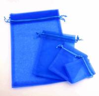 bolsas de regalo de organza azul al por mayor-100 unids 4 tamaños Royal Blue 7x9 cm 9x11 CM 13x18 CM Organza regalo de la joyería bolsas de la bolsa para los favores de la boda, perlas, joyas bolsa